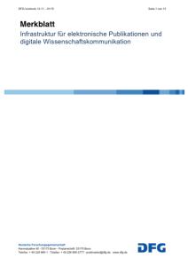 Infrastruktur für elektronische Publikationen und digitale Wissenschaftskommunikation