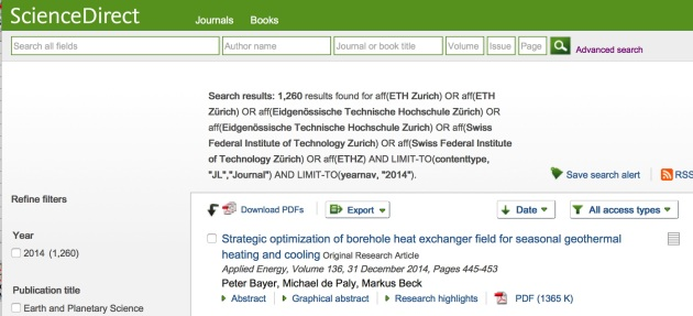 1260 Articles in Sciencedirect from ETH-AutorInnen
