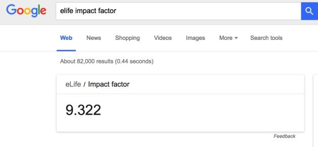 Google Suche erkennt Impact Factor