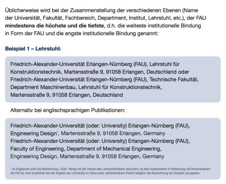 FAU - Empfehlungen für die standardisierte Angabe der Affiliation bei deutschund englischsprachigen Publikationen