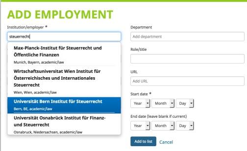 ORCID-Universität Bern - Steuerrecht