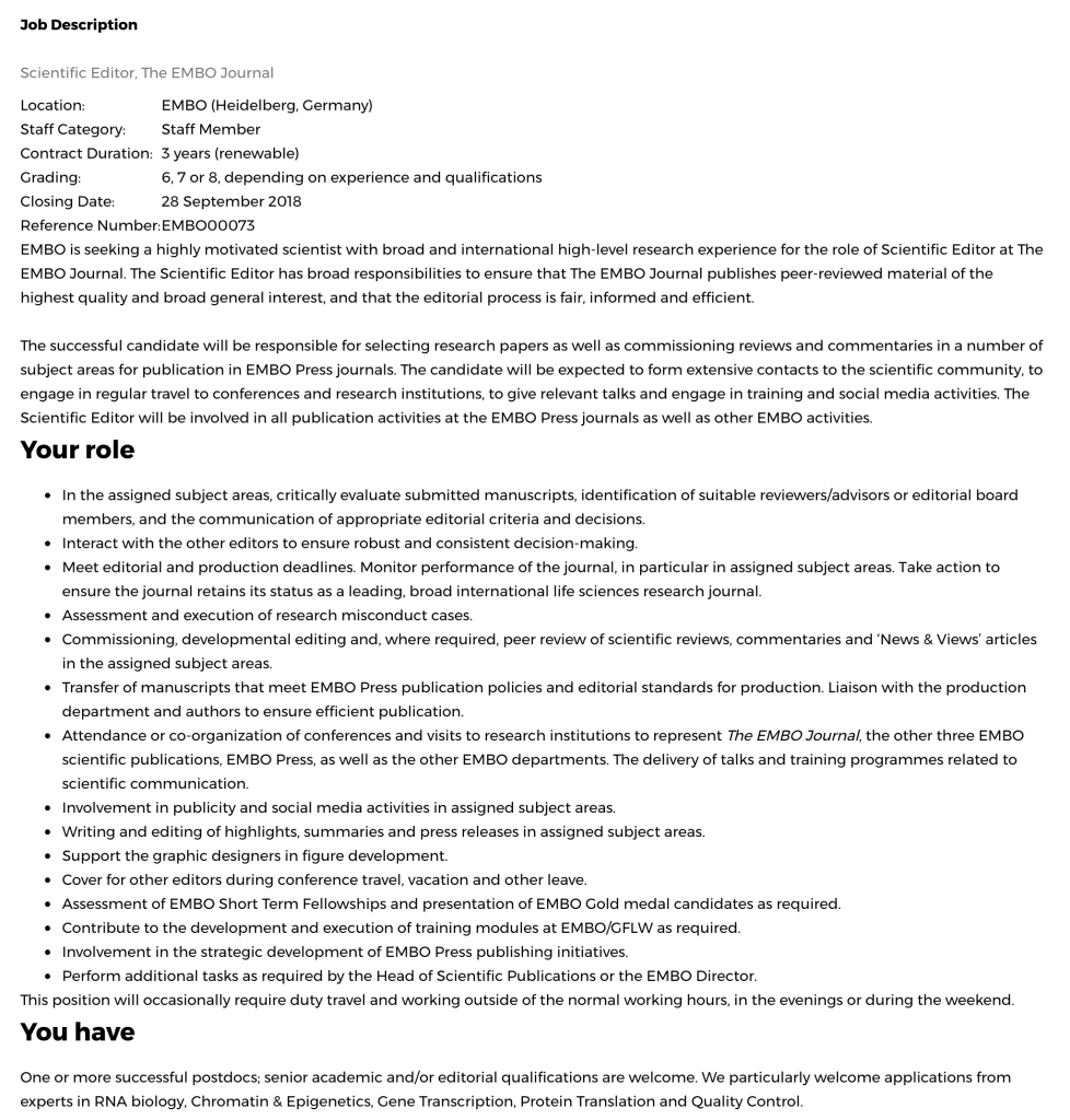 Job description Scientific Editor for Embo Journal