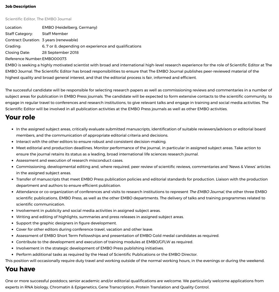 Job description Scientific Editor for Embo Journal